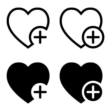 Heart icon with plus sign for app or website