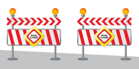 Closed road sign for barrier Construction marking