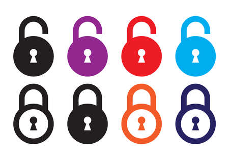 Lock sign icon. Colorful padlock symbol for apps or websites.  イラスト・ベクター素材