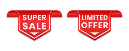 Super sale. Limited offer tag label for promotion in social media.  イラスト・ベクター素材