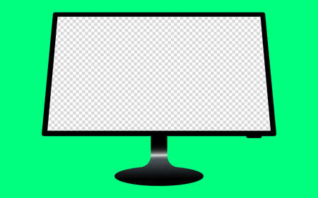 Monitor with a blank screen with a green background. mockups template design, vector illustration elements.