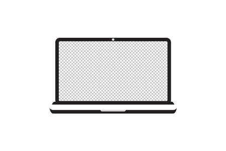 Laptop with transparent screen. Notebook white screen template. Computer display on white background.