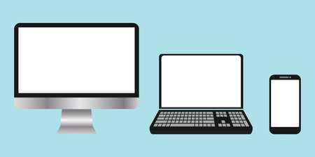 a collection of electronic devices, Computers, Laptops, Smartphones with blank screens. Mockups. vector illustration elements  イラスト・ベクター素材