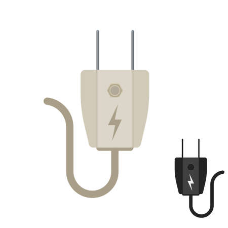 Electric plug icon in vector shape on a white background