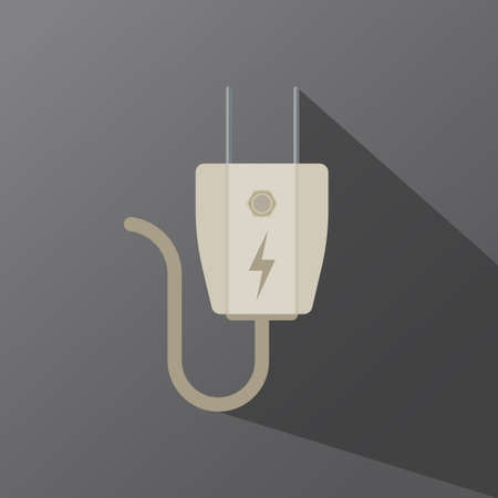 Electric plug icon in vector shape on a dark background Ilustracja