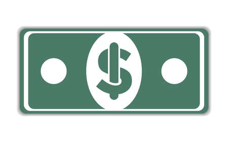Illustration of a dollar banknote on a white background  イラスト・ベクター素材