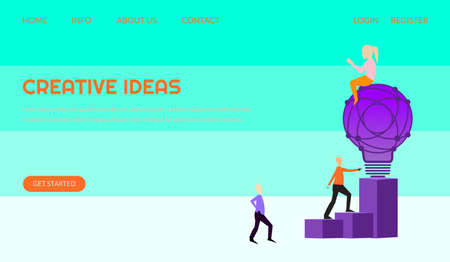 Creative idea vector illustration concept, people with giant light bulb, can use for, landing page, template, ui, web, mobile app, poster, banner, leaflets, background.