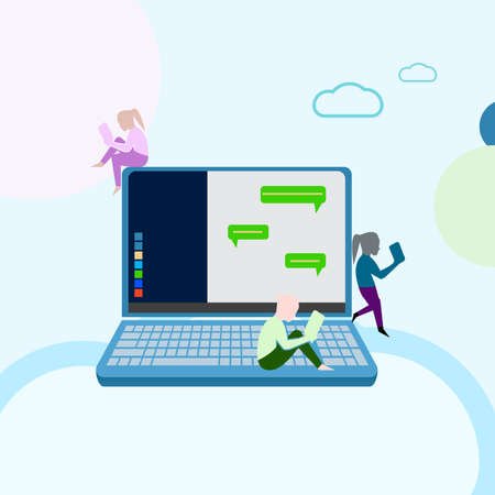 illustration group people boy and girl doing conversation on social media online chat application, web design, banner, landing page, leaflets, - Vector