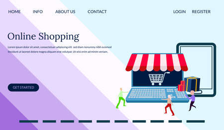 Web design online shopping illustration concept, people shopping using smartphone and laptop, landing page, template, ui, web, mobile app, poster, banner, leaflets- Vector