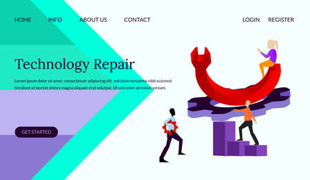 Technology repair vector illustration concept, people with giant wrench concept, can use for, landing page, template, ui, web, mobile app, poster, banner, leaflets, background. Ilustração