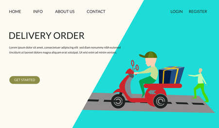 Delivery order vector illustration concept, human with motorcycle concept, can use for, landing page, template, ui, web, mobile app, poster, banner, leaflets, background.
