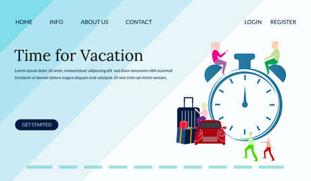 Time for vacation, group people and clock concept , travelling,can used for landing page, tourism promotion,template, ui, web, mobile app, poster, banner, leaflets,element illustration- Vector
