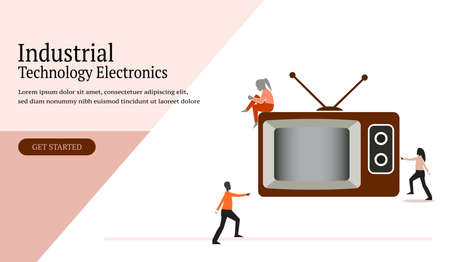 Web design industrial technology electronics, with television and human icon, template, banner, app, leaflet, poster - Vector