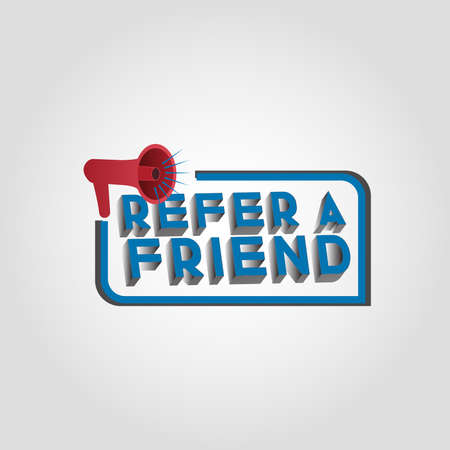 3D Refer a friend concept vector with megaphone, landing page, template, ui, web, mobile app, poster, banner, flyer, background, gift card, label, wallpaper - Vector