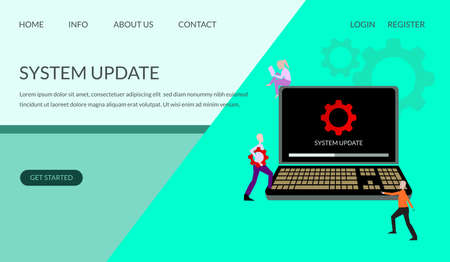 system update illustration concept, people trying to update the operating system, can be used for, landing pages, templates, ui, web, mobile applications, posters, banners, leaflets - vectors Ilustração