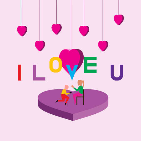 I love you vector illustration concept, valentine day concept, boy and girl happiness.