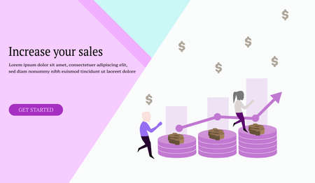 Web design increase your sales,business management, stack of coins dollar, market,store progress, template, banner, app, leaflet,poster - Vector