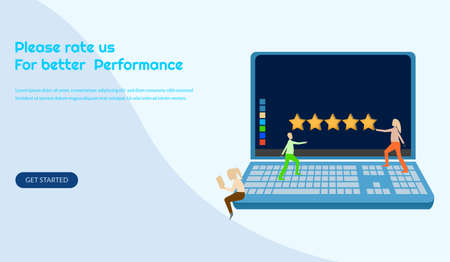 Customer review rating vector illustration, give review rating and feedback, 5 stars, can used for landing page,marketing review, template, ui, web, app, poster, banner, leaflet, background Ilustração