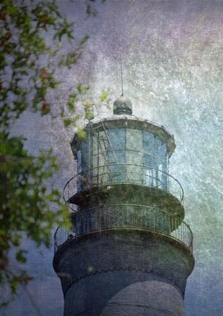 A portrait of the beacon on the Pensacola lighthouse is digitally enhanced