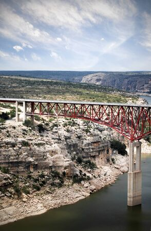 This bridge spans the Rio Grande River, the border between Texas and Mexico.  There is no traffic.  Border is closed.