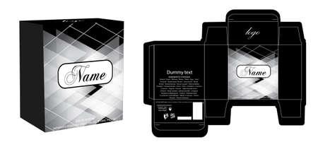 Conception d'emballage, modèle de conception de boîte de parfum de luxe et boîte de maquette. Vecteur d'illustration.