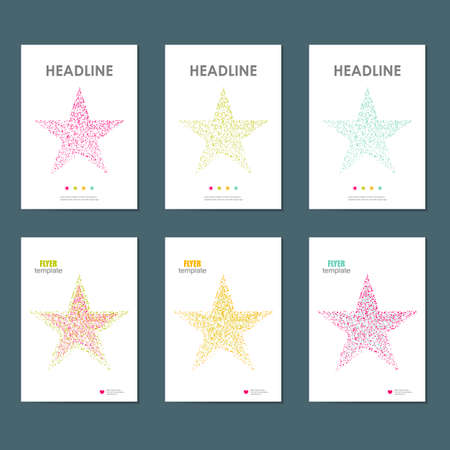 six objects: Six vector business brochure design with star symbol.