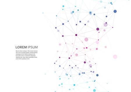 분자 구조 스타일로 추상 다각형 기하학적 모양. 벡터 연결 그림 일러스트