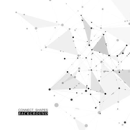 Abstract science background with connected dots and lines, molecular artificial neural network concept vector illustration