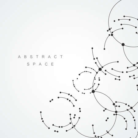 Vector points connecting circles background. Geometric abstraction design with lines and points Illustration