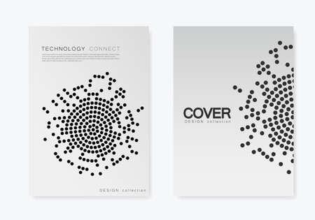 Modèle de brochure avec motif en demi-teintes pour le rapport annuel, le magazine, le dépliant au format A4 Vecteurs