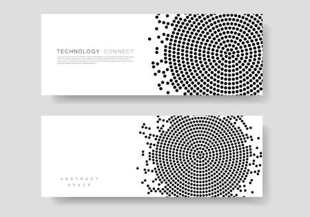 Diseño de patrón de círculo abstracto vector negro en textura de medios tonos