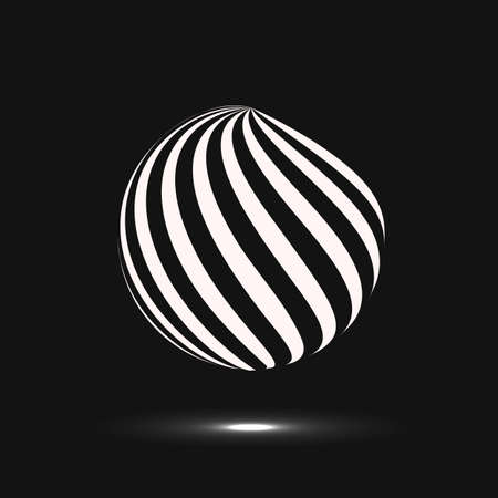 Abstract sphere icon. Vector design with twirl line.