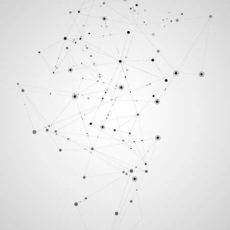 Connect polygonal network background. Lines and dots science pattern