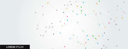Abstract polygonal horizontal background with abstract connecting dots and lines.
