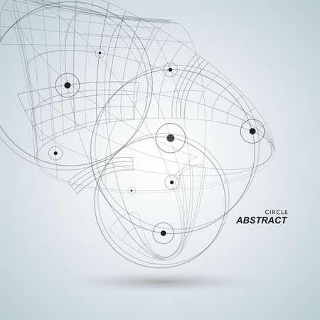 círculo abstracto plantilla de diseño. puntos y líneas de fondo