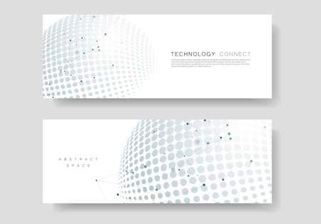 Vector halftone circle design with molecule connect Illustration