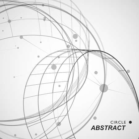 Abstract circle shape with line and dots.