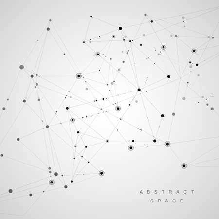 Connect polygonal network background. Lines and dots science pattern Stok Fotoğraf - 96057527