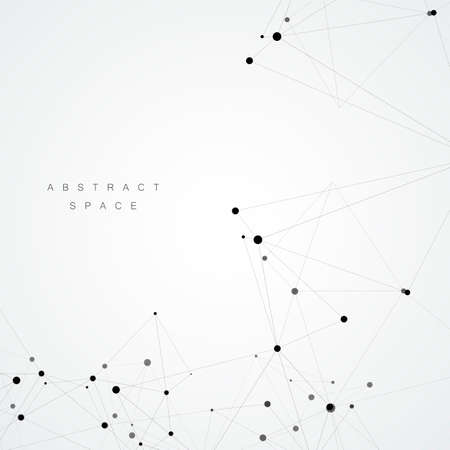 Technology polygonal science background with connecting dots and lines. Vettoriali