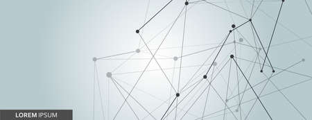 Abstract connected dots and lines vector banner. Science network design, chemistry structure illustration.