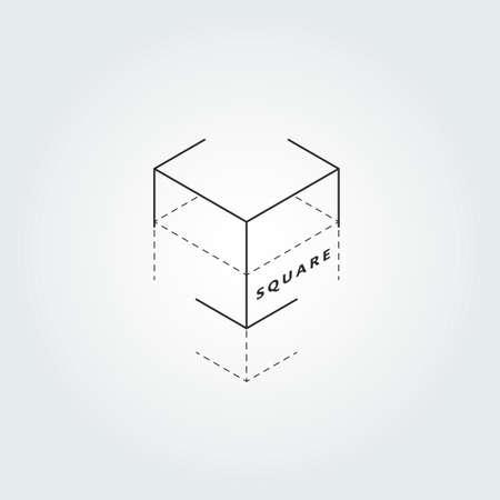 Vector illustration on 3D square elements Çizim