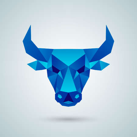 Polygonal vector bull head Illustration