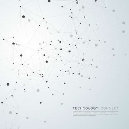 Abstract polygonal technology background with connecting dots and lines Çizim