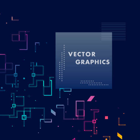Abstract composition and geometric elements with connect lines and square. Vector background