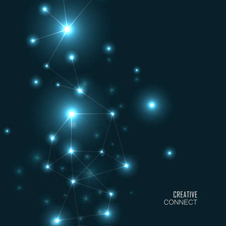 Geometric connect background. Lines and dots on a dark background. Scientific vector background
