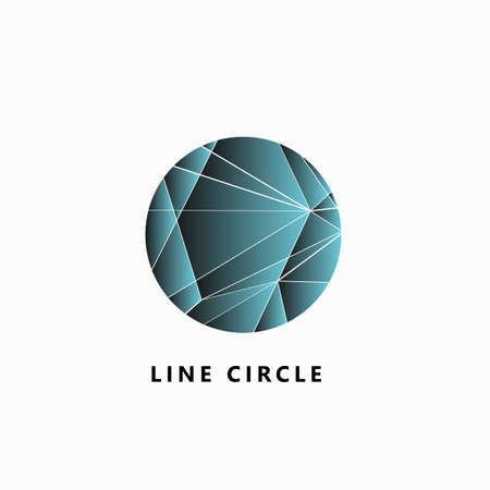 Abstract network connection. Vector circle Illustration on white square background