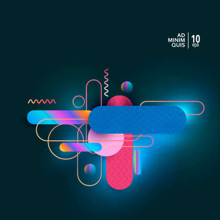 Colorful geometric background with vector fuid shapes composition Çizim