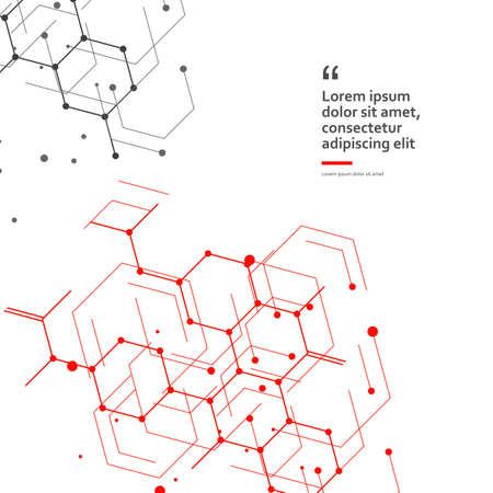 Science design with molecular structure. Abstract vector medical background Çizim