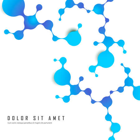 Atoms and molecular structure with blue connected spherical particles. Chemical and medical and technology vector illustration Stok Fotoğraf - 130840605