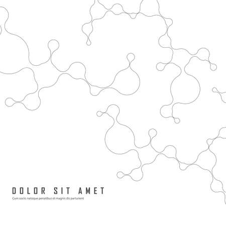 Network abstract connection molecules on white background. Contour lines technology background with simple abstract concept